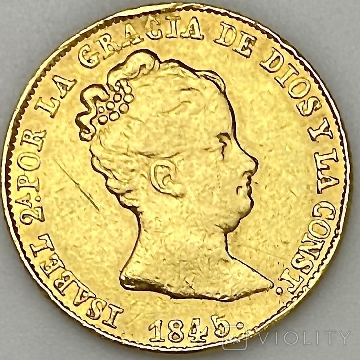 80 реалов. 1845. Изабелла II. Испания (золото 875, вес 6,70 г), фото №6