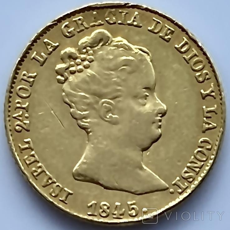 80 реалов. 1845. Изабелла II. Испания (золото 875, вес 6,70 г), фото №8