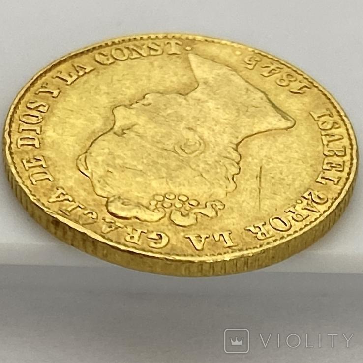 80 реалов. 1845. Изабелла II. Испания (золото 875, вес 6,70 г), фото №11