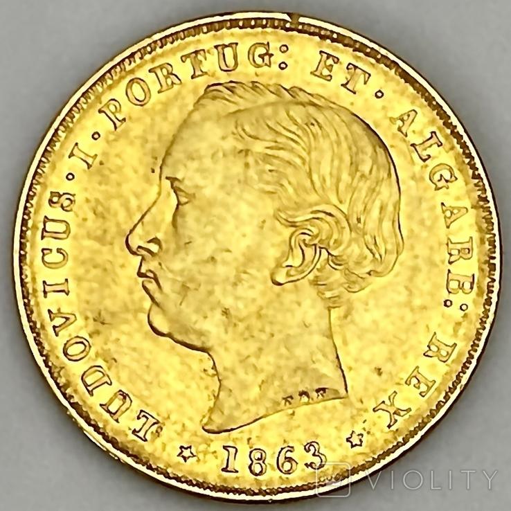 5000 реалов. 1863. Португалия (золото 917, вес 8,82 г), фото №2