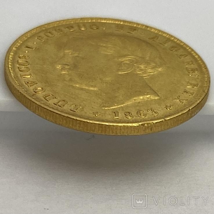 5000 реалов. 1863. Португалия (золото 917, вес 8,82 г), фото №7