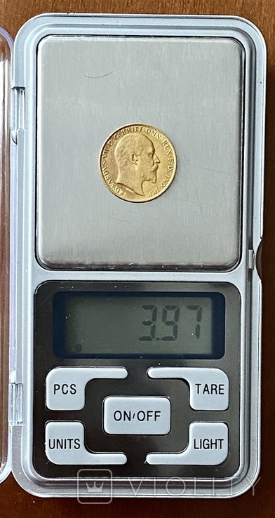 1/2 фунта (1/2 соверена). 1909. Эдуард VII. Великобритания (золото 917, вес 3,97 г), фото №12