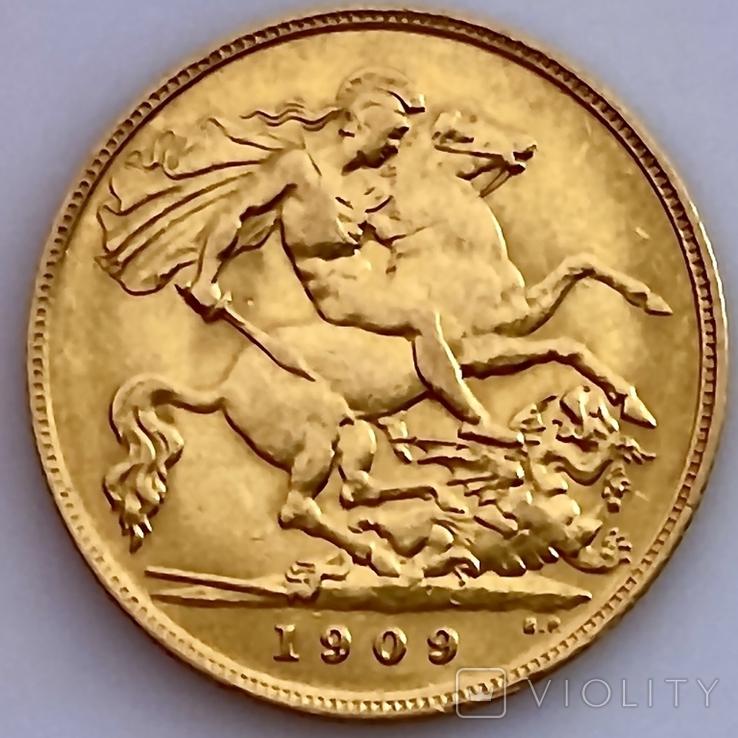 1/2 фунта (1/2 соверена). 1909. Эдуард VII. Великобритания (золото 917, вес 3,97 г), фото №13