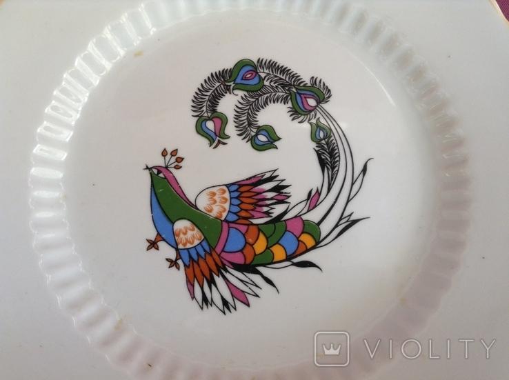 Блюдо-тарелка плоская Птица счастья. Фарфор, Коростень., фото №4