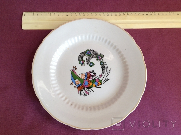 Блюдо-тарелка плоская Птица счастья. Фарфор, Коростень., фото №2