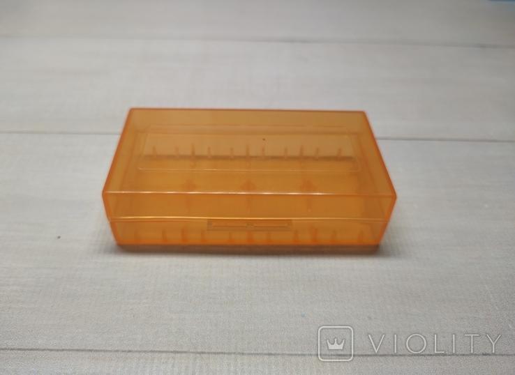 Коробка, бокс, футляр, кейс, для аккумуляторов 18650 оранжевый