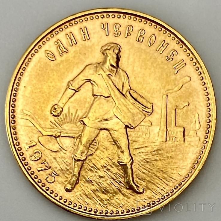 Один Червонец Сеятель. 1975. РСФСР (золото 900, вес 8,64 г), фото №2