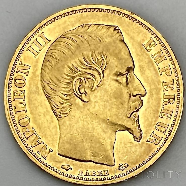 20 франков. 1859. Наполеон III. Франция (проба 900, вес 6,42 г), фото №2