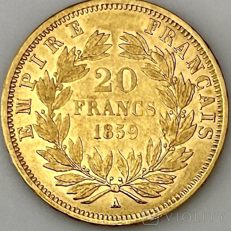 20 франков. 1859. Наполеон III. Франция (проба 900, вес 6,42 г), фото №5