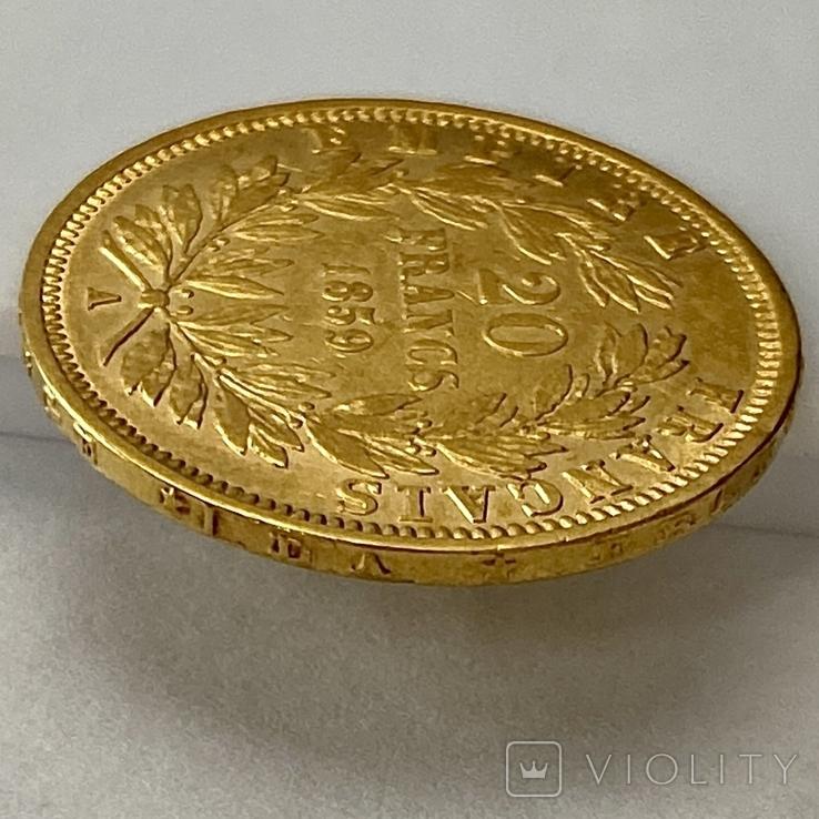 20 франков. 1859. Наполеон III. Франция (проба 900, вес 6,42 г), фото №9