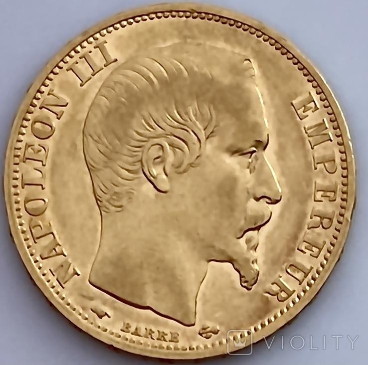 20 франков. 1859. Наполеон III. Франция (проба 900, вес 6,42 г), фото №13