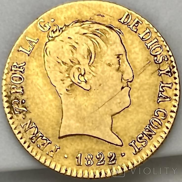 80 реалов. 1822. Фердинанд VII. Испания (золото 875, вес 6,64 г), фото №2