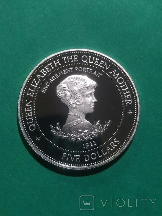 5 долларов 1994  Барбадос 31.47 г Ag 925 ПРУФ., фото №2