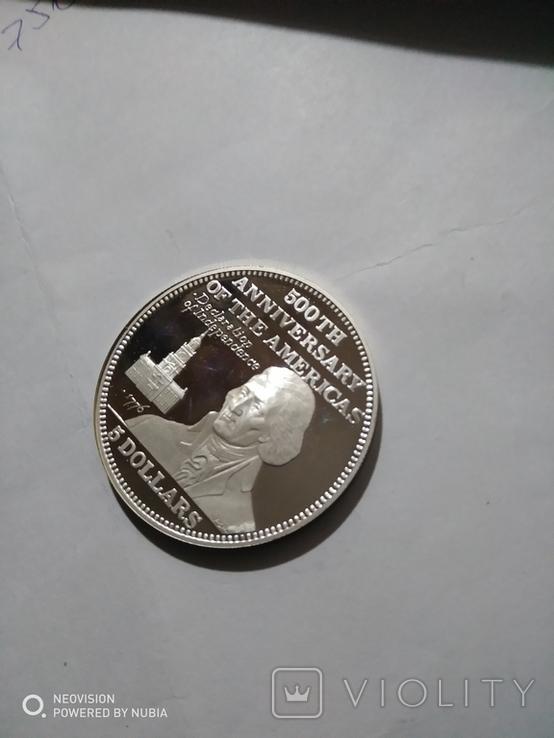 5 долларов Багамы.500-летие Америки., фото №2