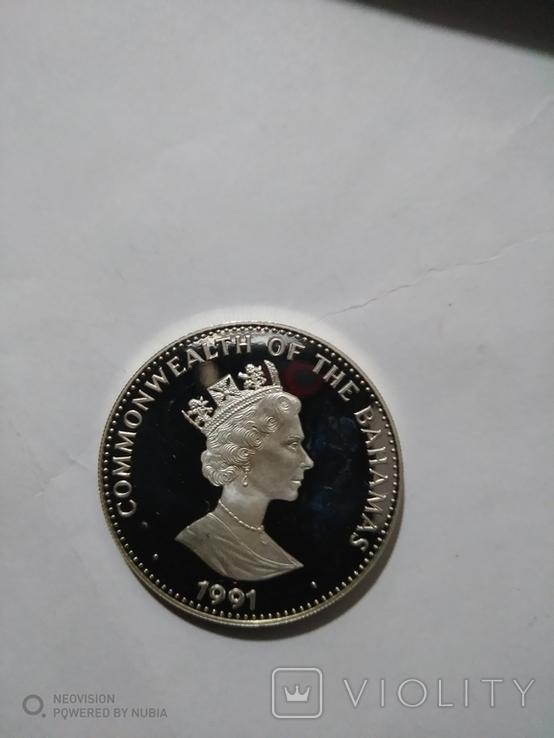 5 долларов Багамы.500-летие Америки., фото №3