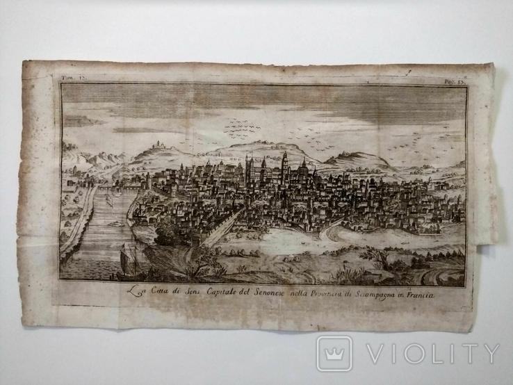 1758 Сенс Шампань Франция (карта план 37х21 Верже) СерияАнтик, фото №3