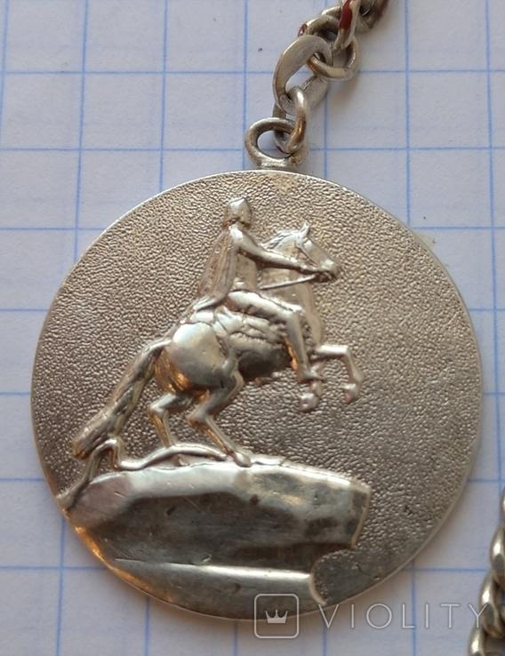 Серебряный брелок памятник Петру Первому(Медный всадник), фото №2