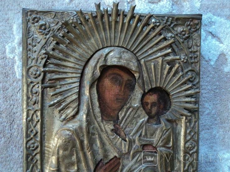 Икона Тихвинская Б.М. в окладе, 22,5х18 см, фото №4