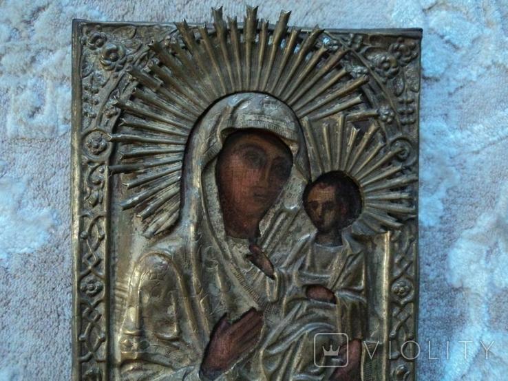 Икона Тихвинская Б.М. в окладе, 22,5х18 см, фото №6