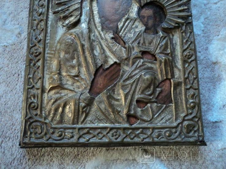 Икона Тихвинская Б.М. в окладе, 22,5х18 см, фото №7