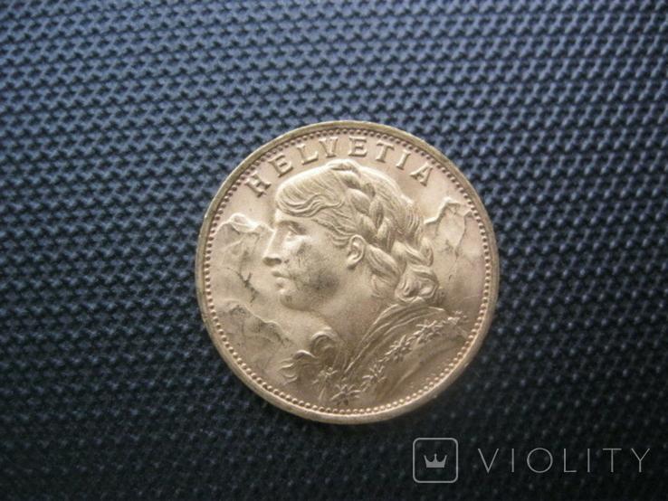 20 франков 1935 год Швейцария, фото №2