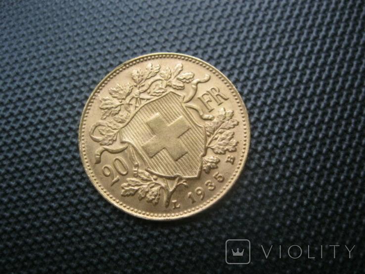 20 франков 1935 год Швейцария, фото №5