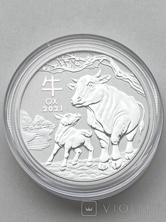 50 центов. 2021. Lunar III - Год Быка. (серебро 999, вес 15,55), фото №2