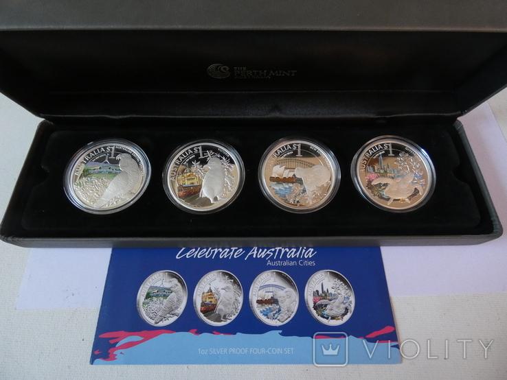 Набор монет - ГОРОДА И ЖИВОТНЫЕ АВСТРАЛИИ - серебро 999, РЕДКИЙ - тираж до 2000, фото №3