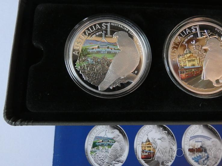 Набор монет - ГОРОДА И ЖИВОТНЫЕ АВСТРАЛИИ - серебро 999, РЕДКИЙ - тираж до 2000, фото №4