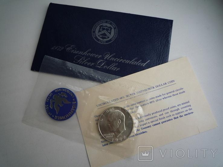 "1 доллар 1972 года. (Эйзенхауэр ""Лунный доллар""), полный комплект, фото №3"