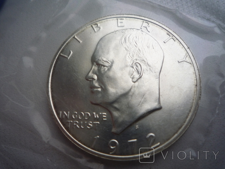 "1 доллар 1972 года. (Эйзенхауэр ""Лунный доллар""), полный комплект, фото №2"