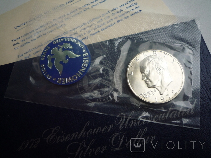 "1 доллар 1972 года. (Эйзенхауэр ""Лунный доллар""), полный комплект, фото №5"