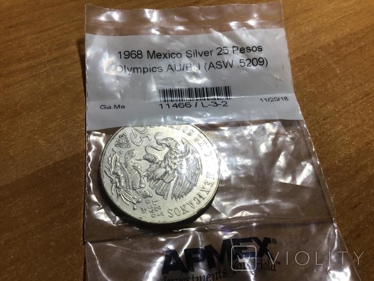 Мексика 25 песо 1968 г. Серебро, фото №2