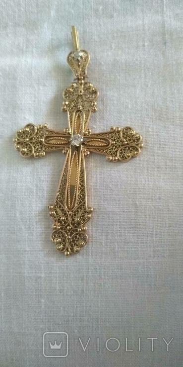 Золотой крестик 583 проба, фото №2