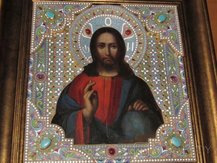 Икона Господь Вседержитель. Оклад горячая эмаль, фото №3