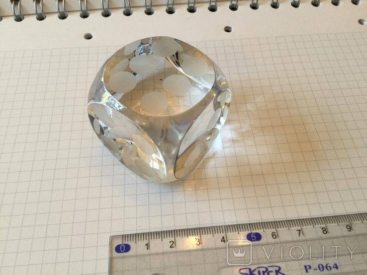 Сувенир, Игральная кость хрустальная декоративная 4х4см, фото №6