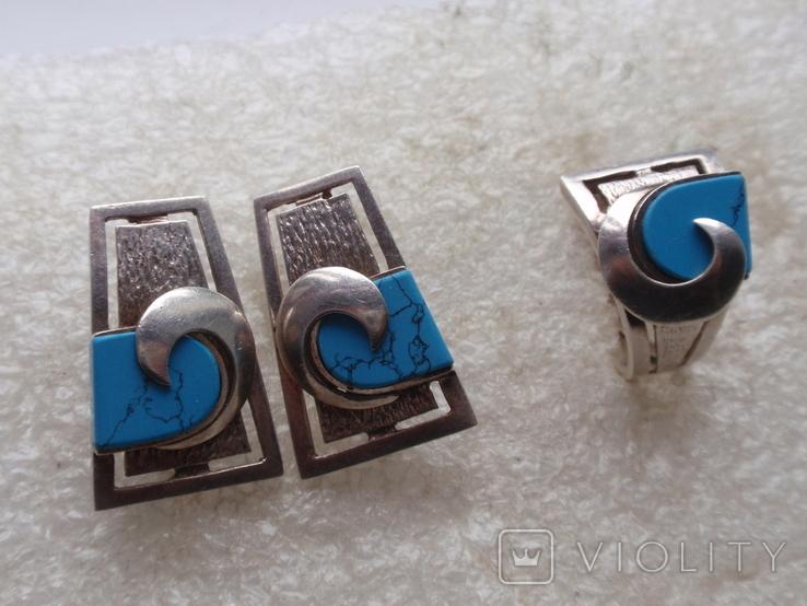 Массивный набор из серебра 925, натур. Бирюза. Ранняя Украина по советскому дизайну., фото №2