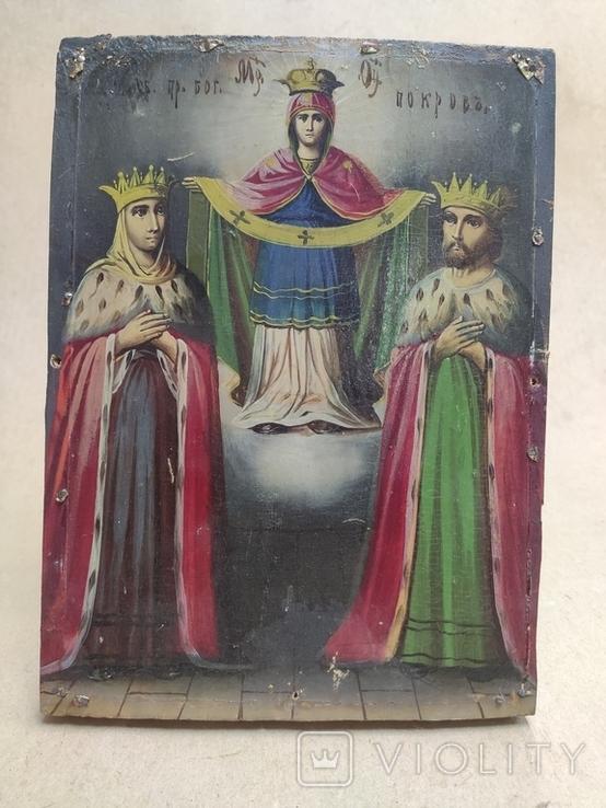 """Икона """"Покров Пресвятой Богородицы"""" с царями. 17,5х23,5см., фото №4"""
