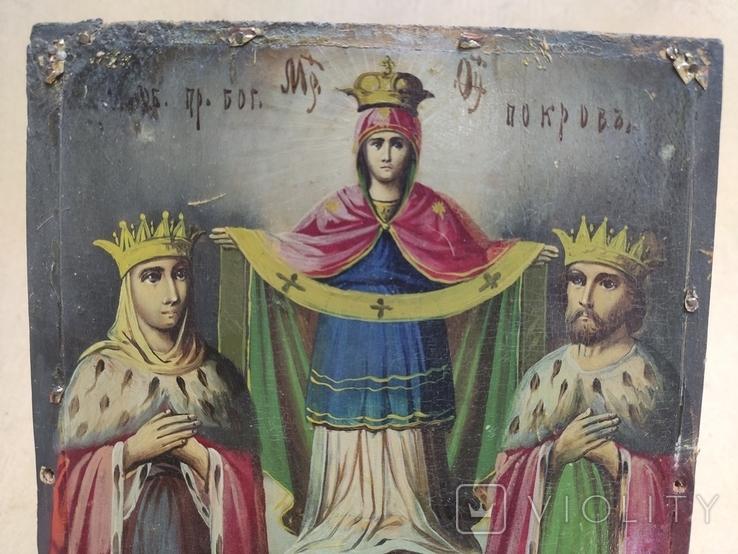 """Икона """"Покров Пресвятой Богородицы"""" с царями. 17,5х23,5см., фото №5"""