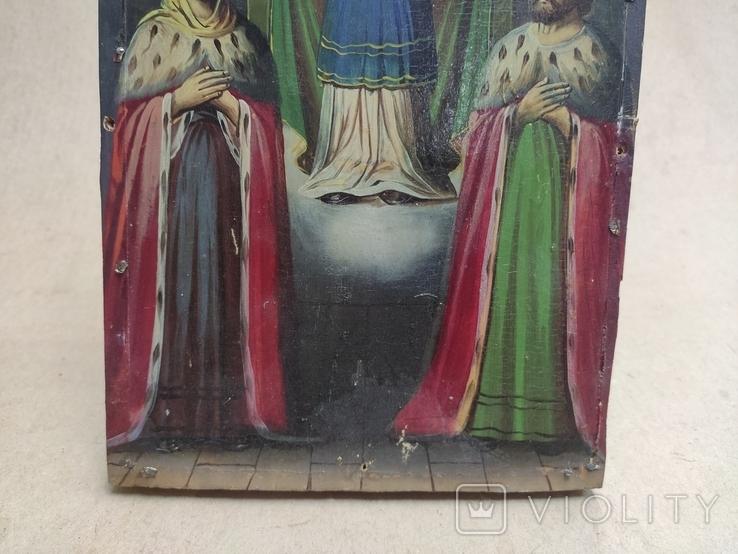 """Икона """"Покров Пресвятой Богородицы"""" с царями. 17,5х23,5см., фото №6"""