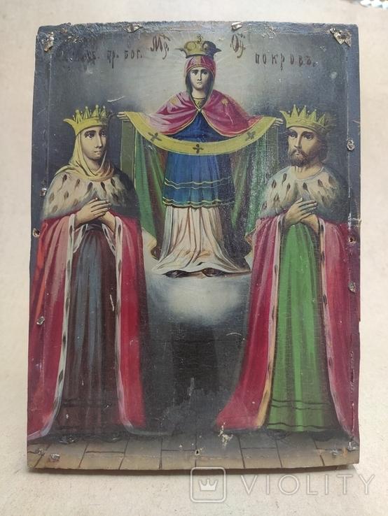 """Икона """"Покров Пресвятой Богородицы"""" с царями. 17,5х23,5см., фото №2"""