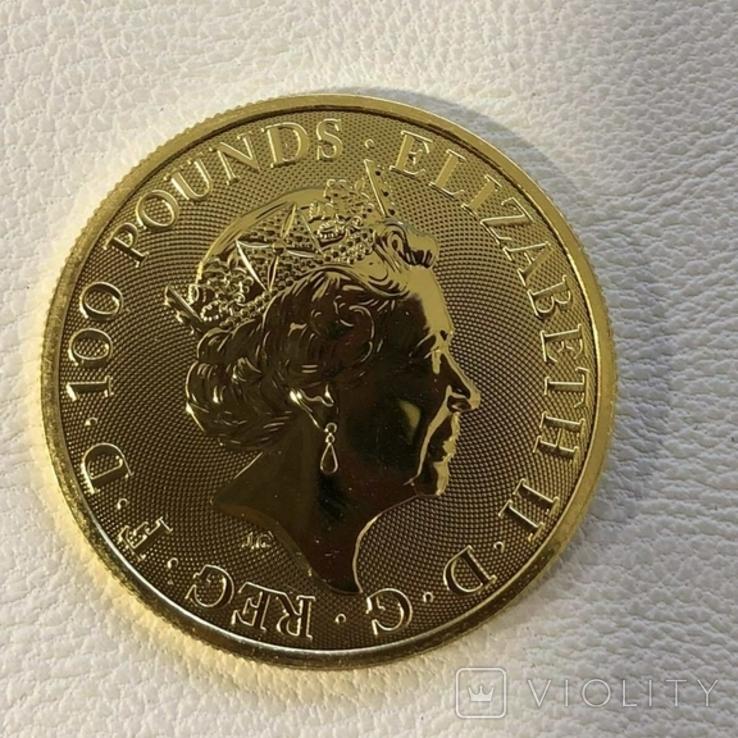 """Великобритания 2021 год 100 фунтов 1 унция золота 9999' """"Белая борзая Ричмонда"""", фото №4"""