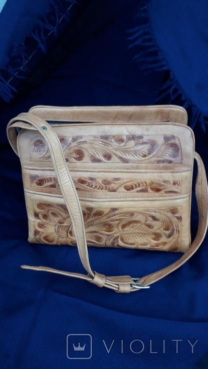 Вінтажна сумка з тисненням, фото №3
