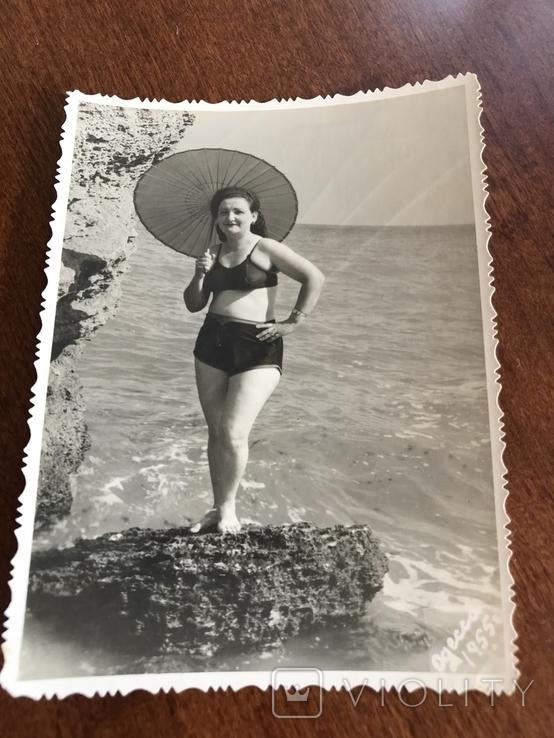 1955 Одесса Камни Зонтик В купальнике, фото №3