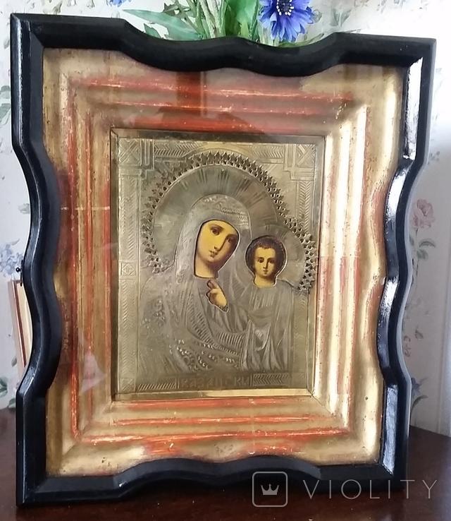Ікона Казанська Богородиця, латунь 17,7х14,5 см, кіот, фото №2