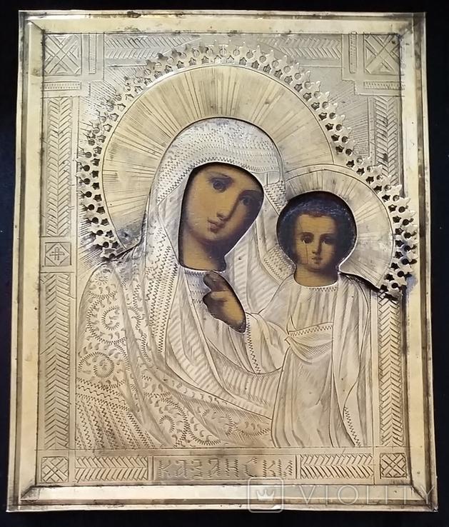 Ікона Казанська Богородиця, латунь 17,7х14,5 см, кіот, фото №5