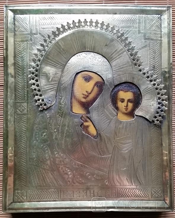 Ікона Казанська Богородиця, латунь 17,7х14,5 см, кіот, фото №6