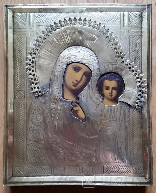 Ікона Казанська Богородиця, латунь 17,7х14,5 см, кіот, фото №7