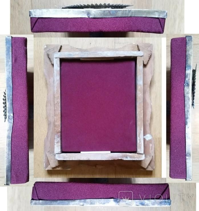 Ікона Казанська Богородиця, латунь 17,7х14,5 см, кіот, фото №12
