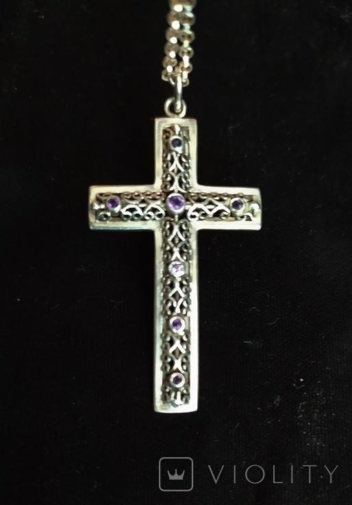 Серебряный крест с камнями аметистами, филиграная работа, цепочка, фото №3